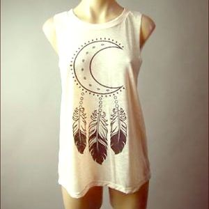 New Moon Feather Print Tank Top